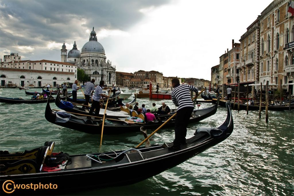 Heavy gondola traffic at the Grand Canal in Venice in Italy
