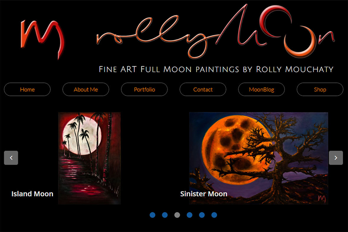 Rollymoon website dedicated to the full moon and oil paintings of Rolly Mouchaty