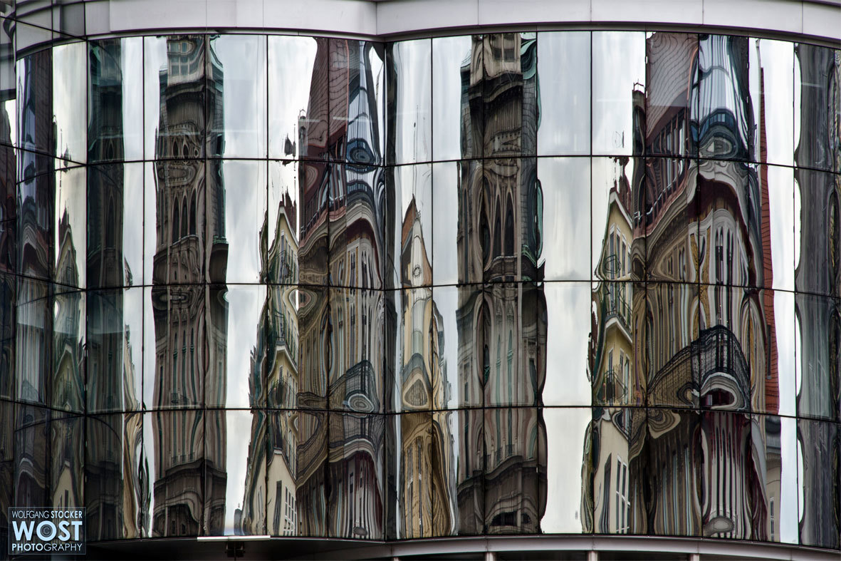 Reflecting Haas-house front in Vienna, Austria