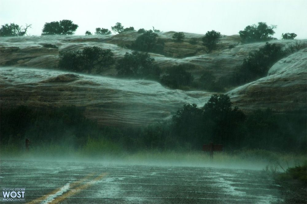 Heavy rainfall at the Canyonlands National Park in Utah/USA