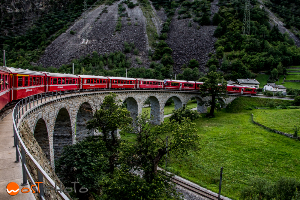 Bernina Express at the Brusio spiral viaduct