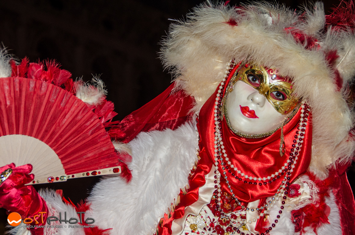 Beautiful mask posing at the Carnival in Venice
